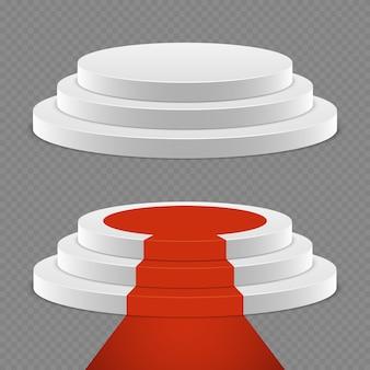 Ensemble de piédestal réaliste - piédestal 3d avec tapis rouge