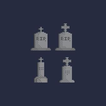 Ensemble de pierre tombale de pixels