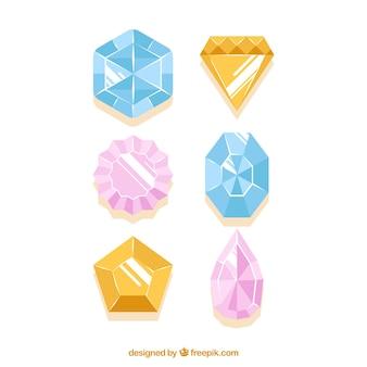 Ensemble de pierres précieuses dans la conception plate