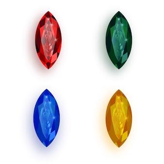 Ensemble de pierres précieuses multicolores.