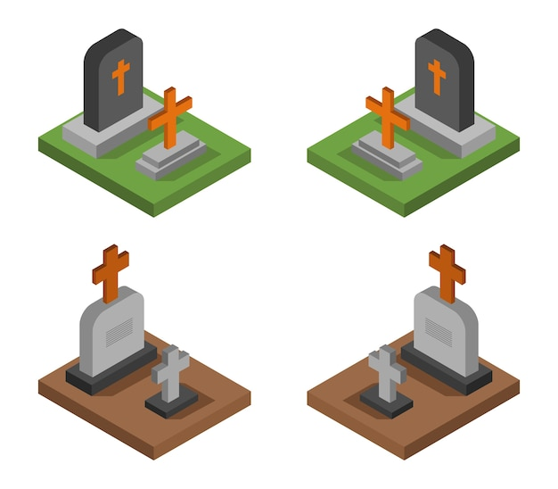 Ensemble de pierres tombales isométrique halloween