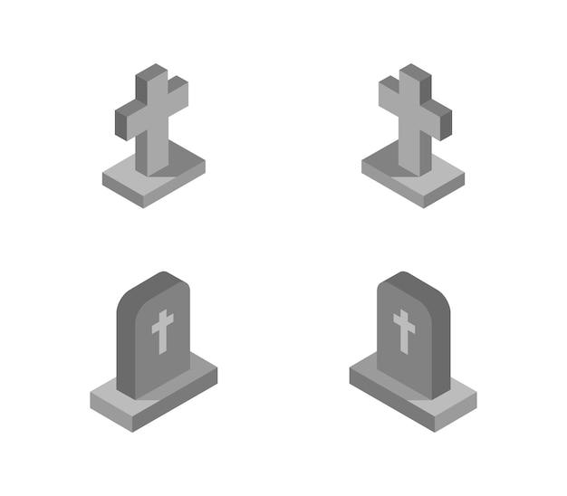 Ensemble de pierres tombales isométriques