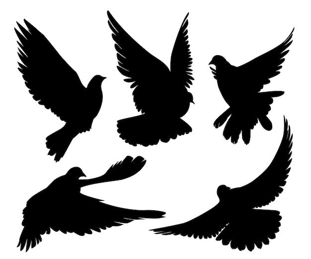Ensemble, de, pigeons, silhouette