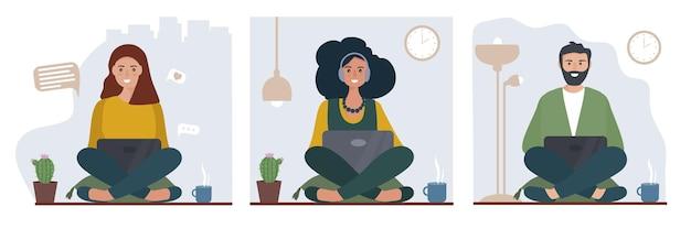 Ensemble de pigistes qui travaillent et étudient à domicile en ligne