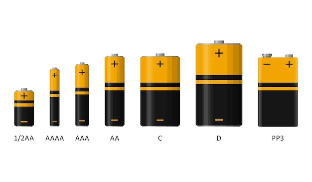 Ensemble de piles alcalines avec différentes tailles isolées