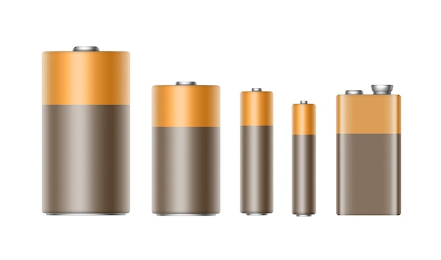 Ensemble de piles alcalines marron jaune doré brillant de taille différente aaa, aa, c, d, pp3 et 9 volts pour la marque close up isolé sur fond blanc