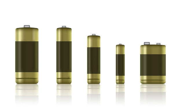 Ensemble de piles alcalines réalistes. type de batterie. taille - piles aa, aaa, pp3, etc. - stock vector.