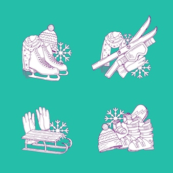 Ensemble de piles d'équipement de sport d'hiver dessinés à la main.