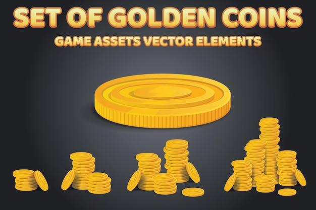 Ensemble de piles de pièces d'or sur fond noir. des tas d'argent brillants colorés d'actifs de jeu réalistes. illustration vectorielle