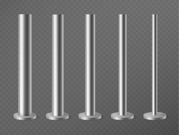Ensemble de piliers métalliques isolés