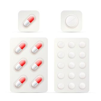 Ensemble de pilules brillantes brillantes sous blister sur blanc