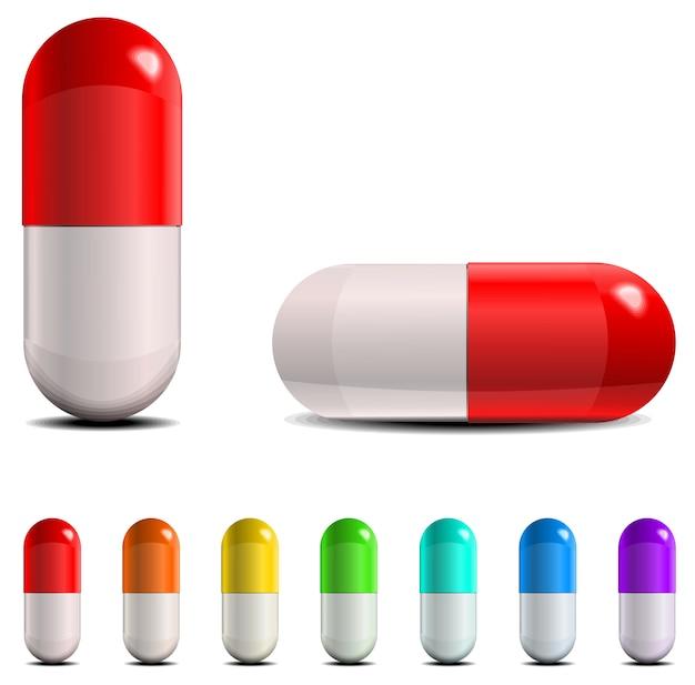 Ensemble de pilules et de capsules. illustration sur fond blanc.