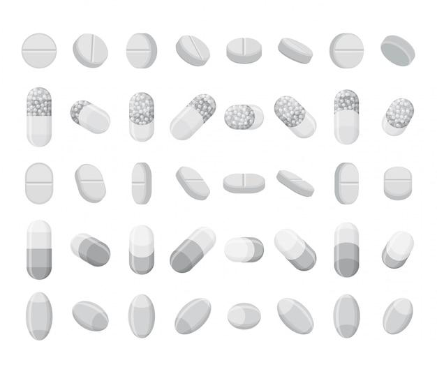 Ensemble de pilules, comprimés et gélules réalistes. médicaments plats isométriques 3d. isolé sur fond blanc.