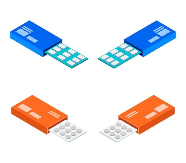 Ensemble de pilules de covid isométrique