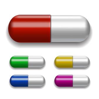 Ensemble de pilules médicales, différentes couleurs.