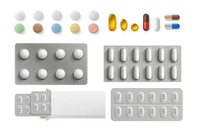 Ensemble de pilules réalistes.