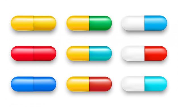 Ensemble de pilules vectorielles et de capsules de couleur isolés
