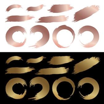 Ensemble de pinceau abstrait pinceau de couleur or et cuivre
