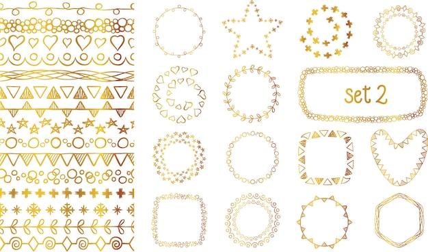 Ensemble de pinceaux décoratifs dégradé doré dessinés à la main.