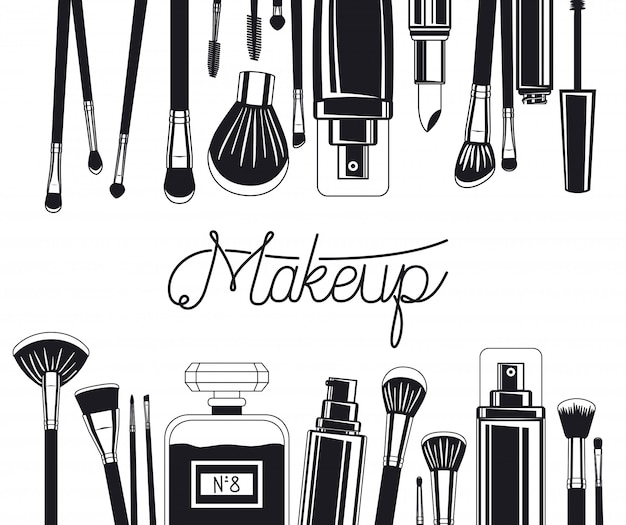 Ensemble de pinceaux à maquillage et cadre de produits
