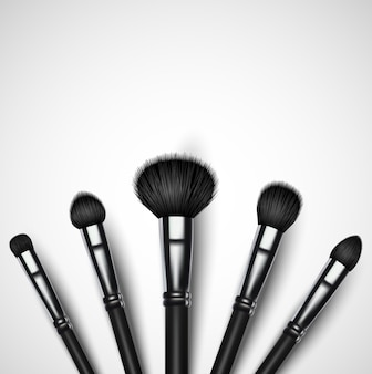 Ensemble de pinceaux de maquillage sur fond blanc