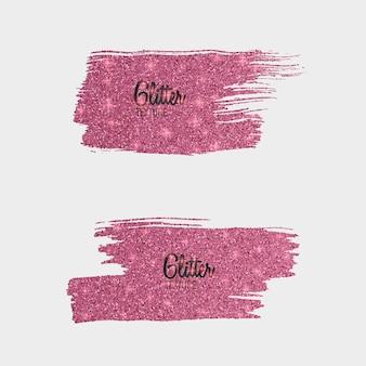 Ensemble de pinceaux de paillettes roses isolé sur blanc