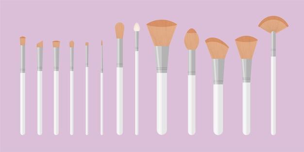 Ensemble de pinceaux professionnels purs blancs pour trousse de maquillage