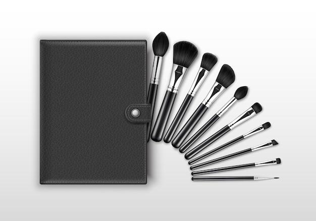 Ensemble de pinceaux à sourcils fard à paupières en poudre correcteur de maquillage professionnel black clean