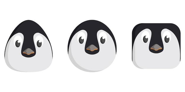 Ensemble de pingouins de dessin animé. différentes formes de visages d'animaux.