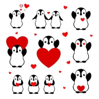 Ensemble de pingouins de dessin animé. personnages plats isolés amoureux. décor de saint valentin pour carte. autocollants pour les amoureux.