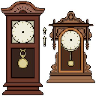Ensemble de pixel art isolé horloge antique