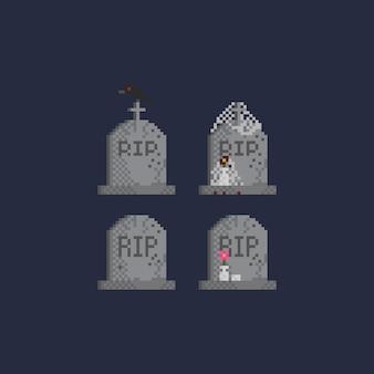 Ensemble, de, pixel, pierre tombale, reposer, dans, paix, texte