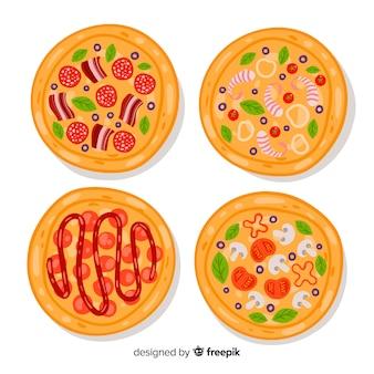 Ensemble de pizza dessiné à la main