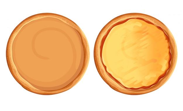 Ensemble de pizza. tarte et ingrédients. kit de création de restauration rapide ensemble de vue de dessus de pizza. page de site web et élément d'application mobile.