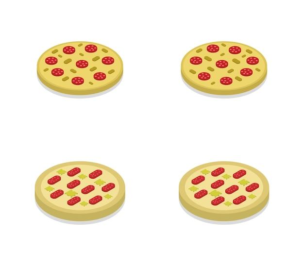 Ensemble de pizzas isométriques