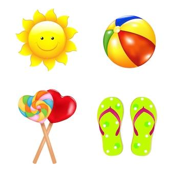 Ensemble de plage avec sucettes, chaussures, ballon de plage et soleil.
