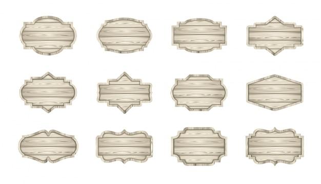 Ensemble de planches en bois clair. étiquettes en bois, enseignes, collection de bannières