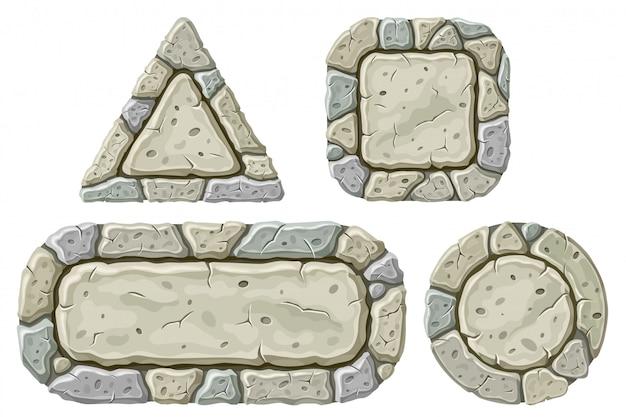 Ensemble de planches de pierre de dessin animé