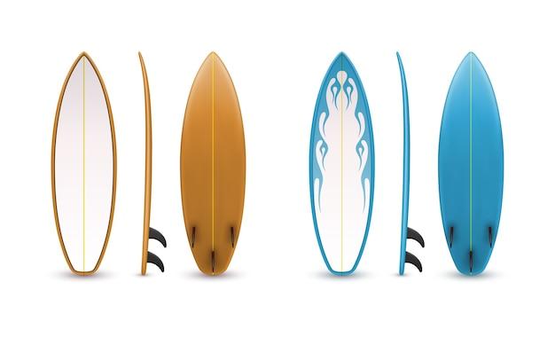 Ensemble de planches de surf réalistes. sport extrême de mer. illustration