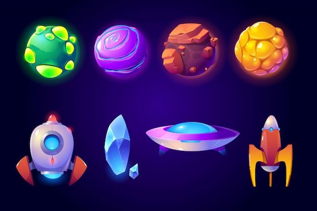 Ensemble de planètes, fusées et ovnis extraterrestres, jeu d'ordinateur