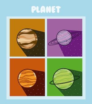 Ensemble de planètes de milkyway dans des cadres colorés carrés