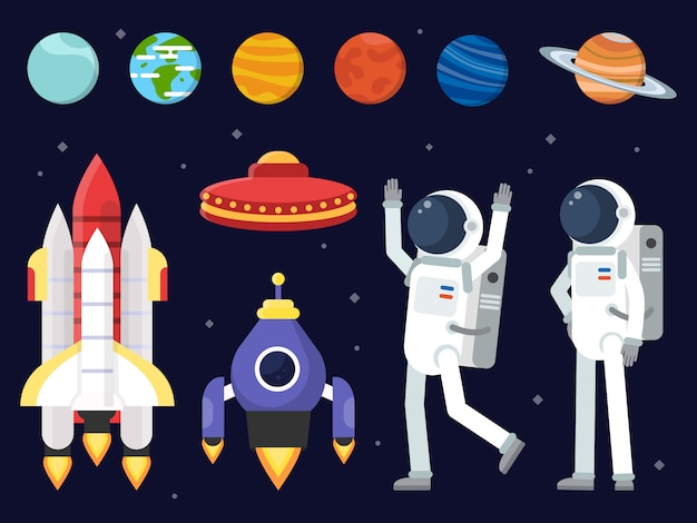 Ensemble de planètes, navettes spatiales et astronautes en style plat