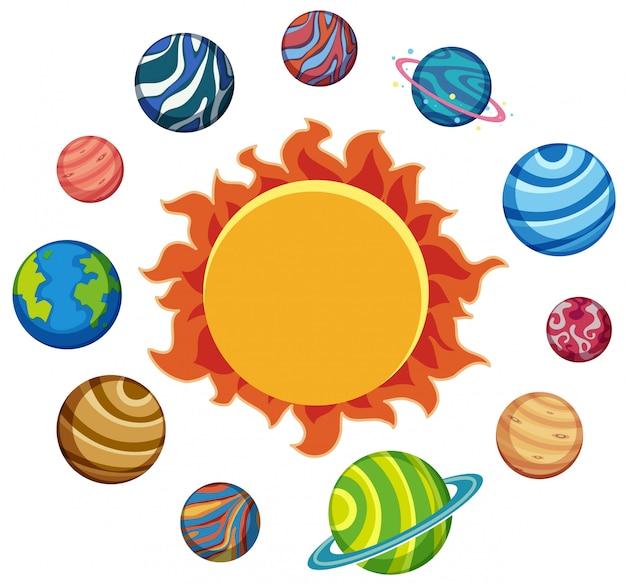 Ensemble de planètes et de soleil