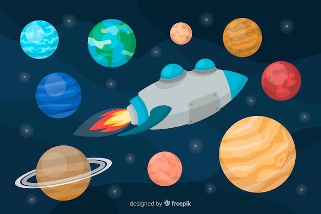 Ensemble de planètes style plat