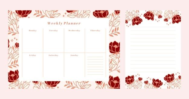 Ensemble de planificateur hebdomadaire floral et modèle de bloc-notes de liste à faire