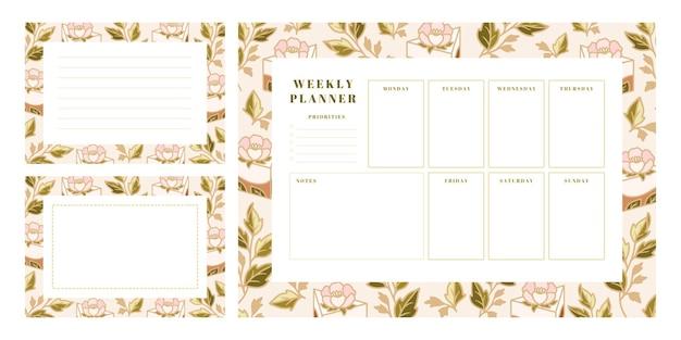 Ensemble de planificateur hebdomadaire, modèles de planificateur scolaire avec gâteau dessiné à la main, éléments floraux
