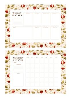 Ensemble de planificateur hebdomadaire, planificateur mensuel, modèles de planificateur scolaire avec des éléments de gâteau, floraux et fraises dessinés à la main