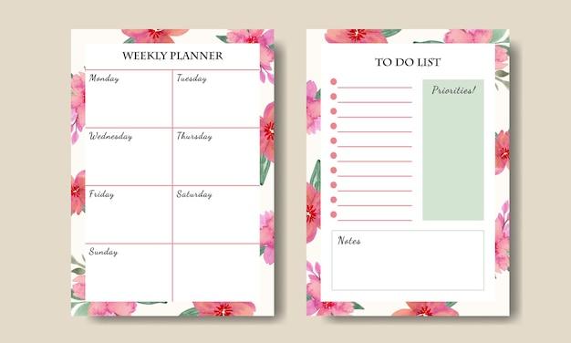 Ensemble de planificateur hebdomadaire pour faire la liste avec le modèle de bouquet de fleurs aquarelle rose imprimable