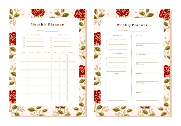 Ensemble de planificateur mensuel et hebdomadaire floral avec des éléments de rose et de feuille