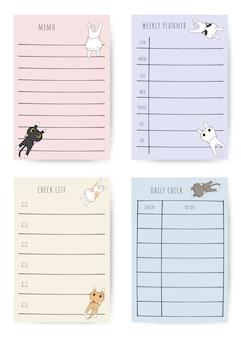 Ensemble de planificateur de notes de dessin animé chat mignon doodle